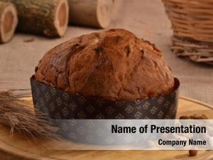 Ingredients panettone bread rustic wood