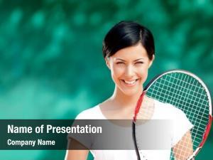 Tennis portrait female player racket