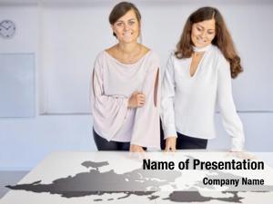 Women two smiling assemble world