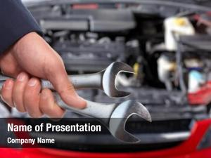 Mechanic hands car wrench auto