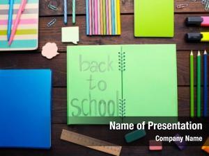 Back school set school inscription