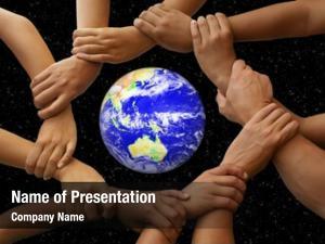 Earth hands framing global team