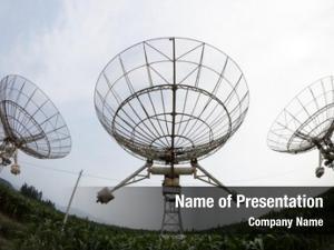 Antenna satellite dishes sunset