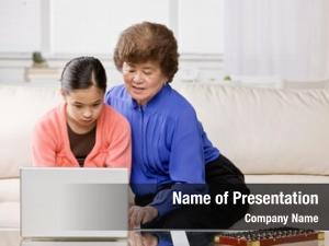 Grandmother granddaughter listening explain how