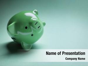Fallen piggy bank over financial
