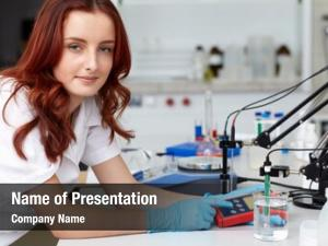 Lab young female technician works