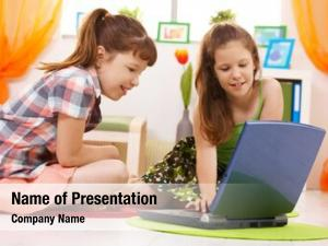 Age smiling elementary schoolchildren browsing
