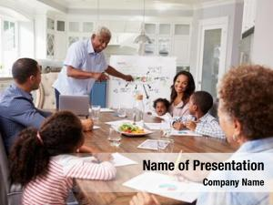 Multi grandad presenting generation family