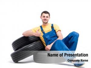 Tires, serviceman sitting white