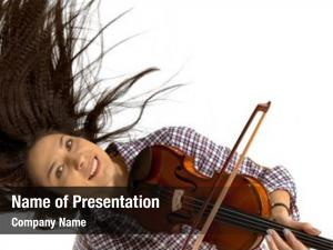 Playing young woman violin white