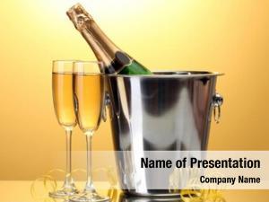 Bucket champagne bottle ice glasses