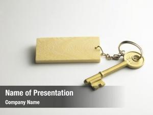 Wooden golden key key chain