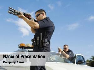 Aiming police officers gun car