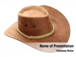 Hat brown leather white