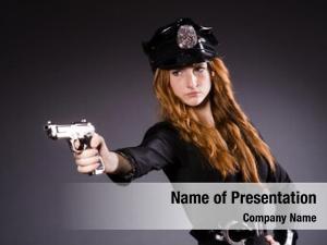 Office woman police gun