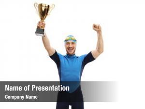 Golden overjoyed swimmer trophy white