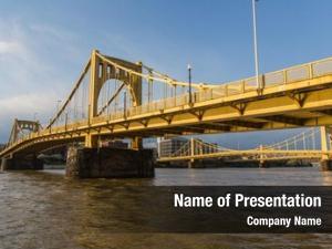 Waterfront downtown river yellow bridges