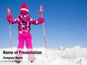 Alpine little girl skiing looks