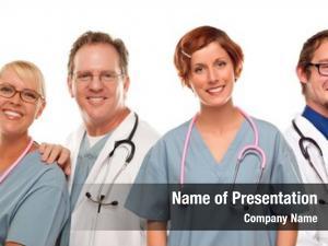 Nurses group doctors isolated white