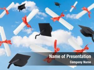 Diploma graduation caps scrolls against