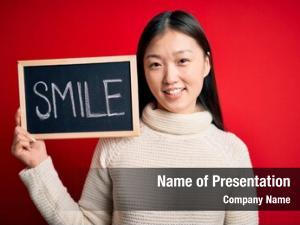 Woman young asian holding blackboard