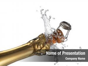 Champagne close up explosion bottle cork