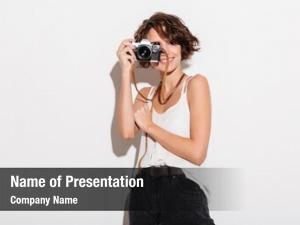 Photographer picture of excited woman