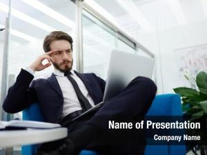 Laptop pensive businessman reading online