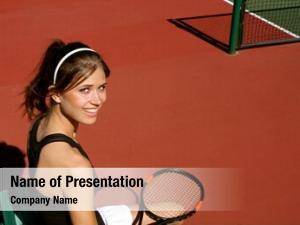 Tennis brunette female player resting
