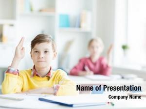 Schoolboy confident secondary raised hand