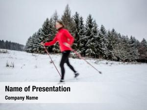 Young cross country skiing: woman cross country
