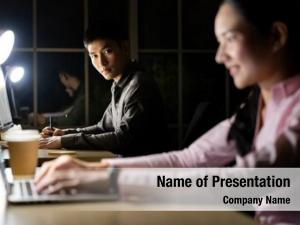 Asian young adult businessman woman