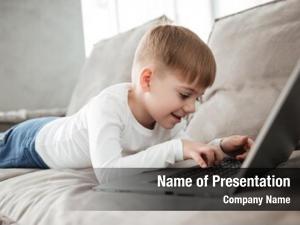 Joyful picture little boy using