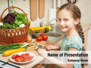 Interior, girl kitchen vegetables fresh