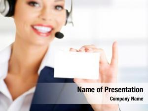 Service smiling customer representative headset
