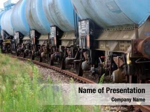 Train line blue tank wagons
