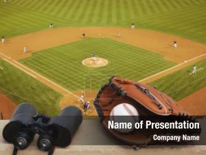 Baseball, baseball glove, binoculars baseball