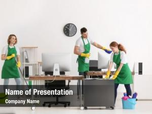 Professionals team of young cleaning