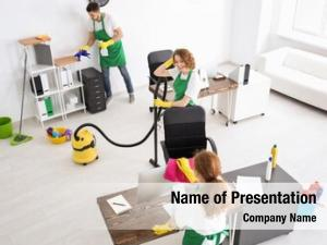 Team of young cleaning