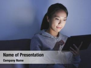 Japanese woman looking at digital