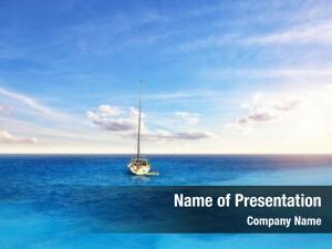 Anchoring sailing boat open ocean,