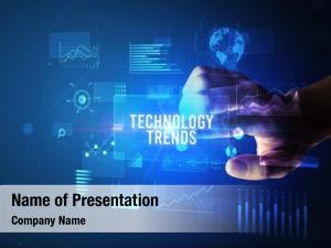 Technology hand touching trends inscription,