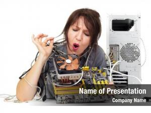 Find woman trying solution computer
