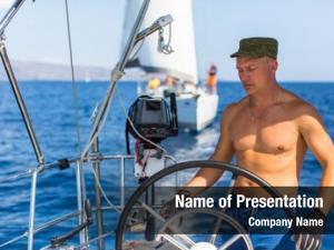 Sail man helm boat, ship