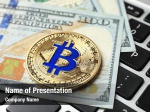 American dollar golden bitcoin with dollar
