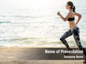 Jogging active woman sea morning
