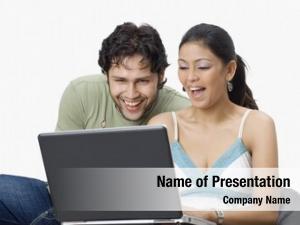 Laptop couple chatting