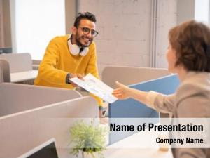 Financial man giving papers colleague
