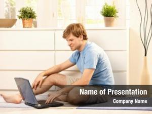 Browsing young man internet laptop