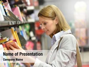 Shopping woman customer book store